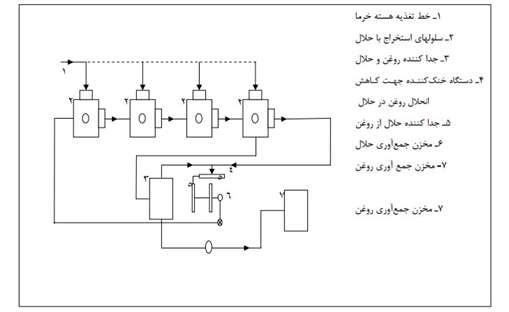 تصویر مکانیزم استخراج با حلّال در تولید روغن از هسته خرما